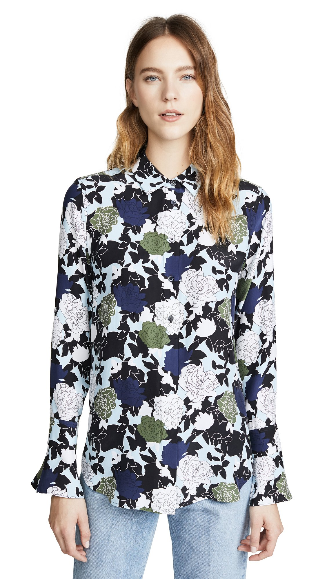 Equipment Women's Floral Noir Printed Daphne Top, Cool Breeze Multi, Extra Small