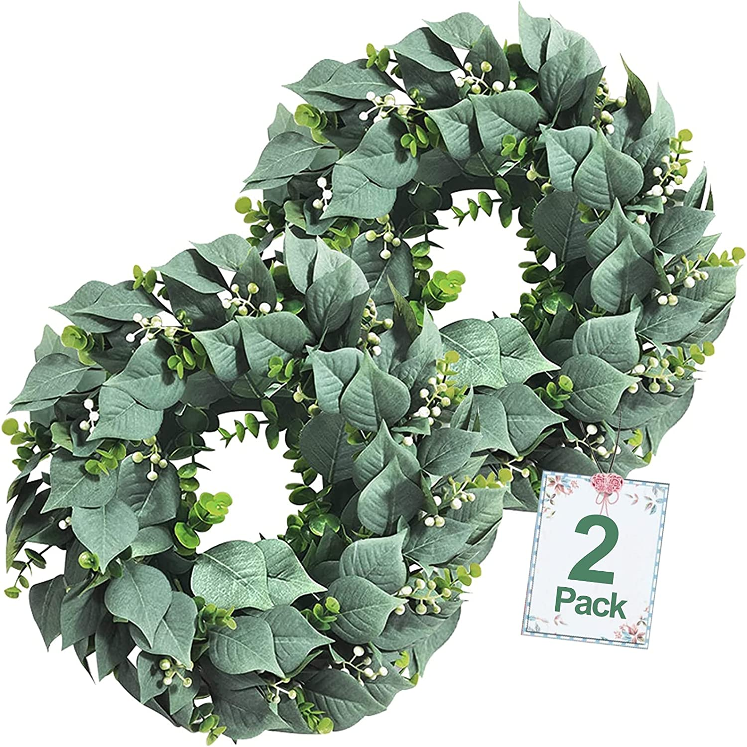 TURNMEON 2 Pack Artificial Eucalyptus Wreath for Front Door Decor, Greenery Leaves Wreath with Seeds Spring Wreath for Home Wall Window Porch Farmhouse Summer Decor