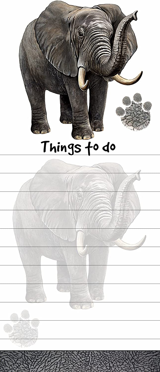 """""""Elephant Magnetic List Pads"""" Uniquely Shaped Sticky Notepad Measures 8.5 by 3.5 Inches"""