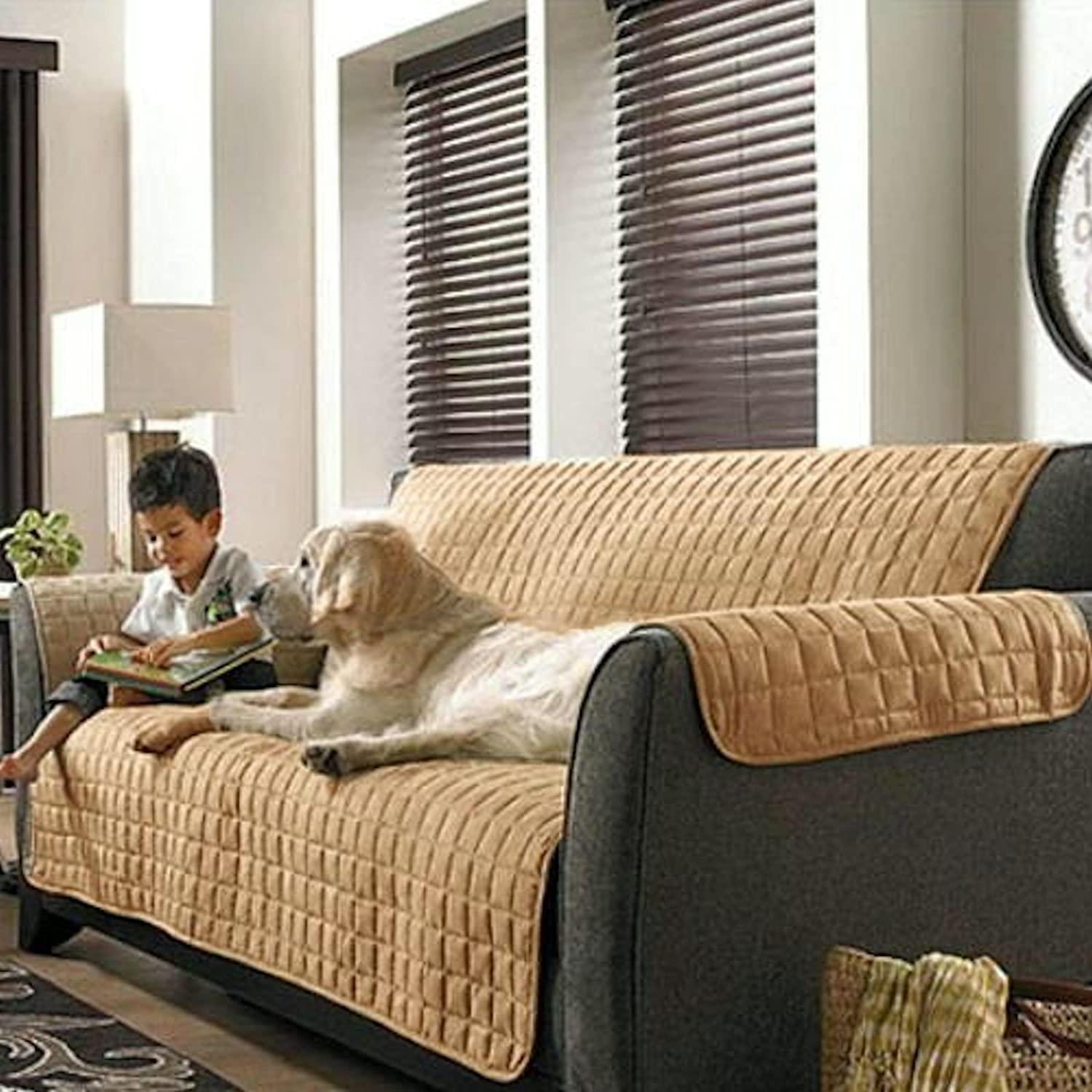 Amazon 2PC Beige Soft Micro Suede Couch Sofa and Loveseat Pet