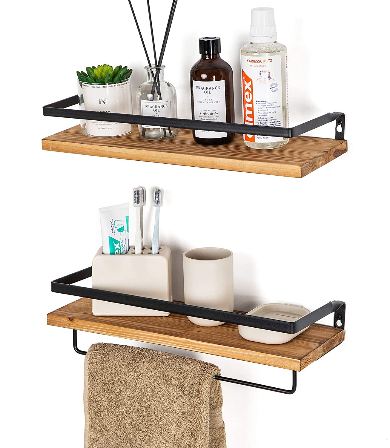 SODUKU Floating Shelves Wall Mounted Storage Shelves for Kitchen, Bathroom,Set of 2 Carbonized Black