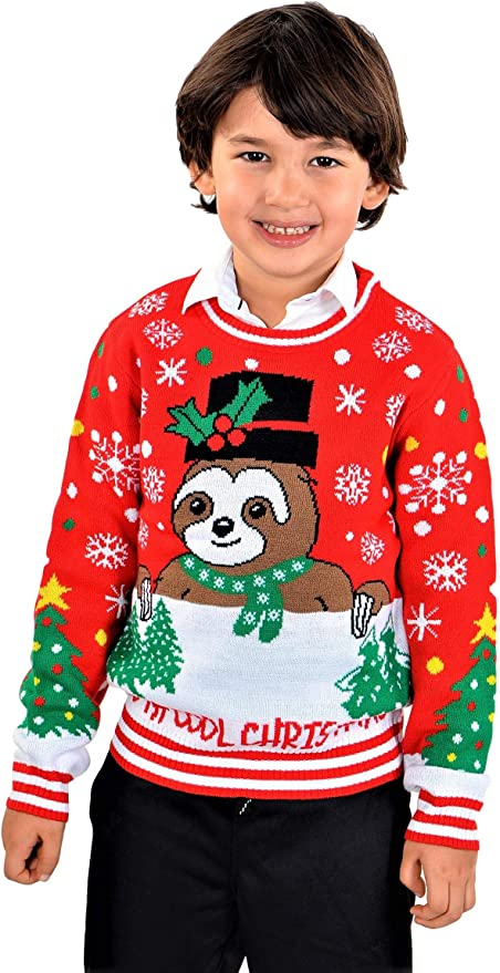 SoCal Look Boys Ugly Christmas Sweater T-Rex Christmas Tree Pullover Black