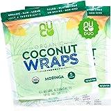NUCO DUO Certified Organic, Paleo, Gluten Free, Vegan Non-GMO, Kosher Raw Veggie Coconut Wraps Moringa Flavor. NO Salt Added