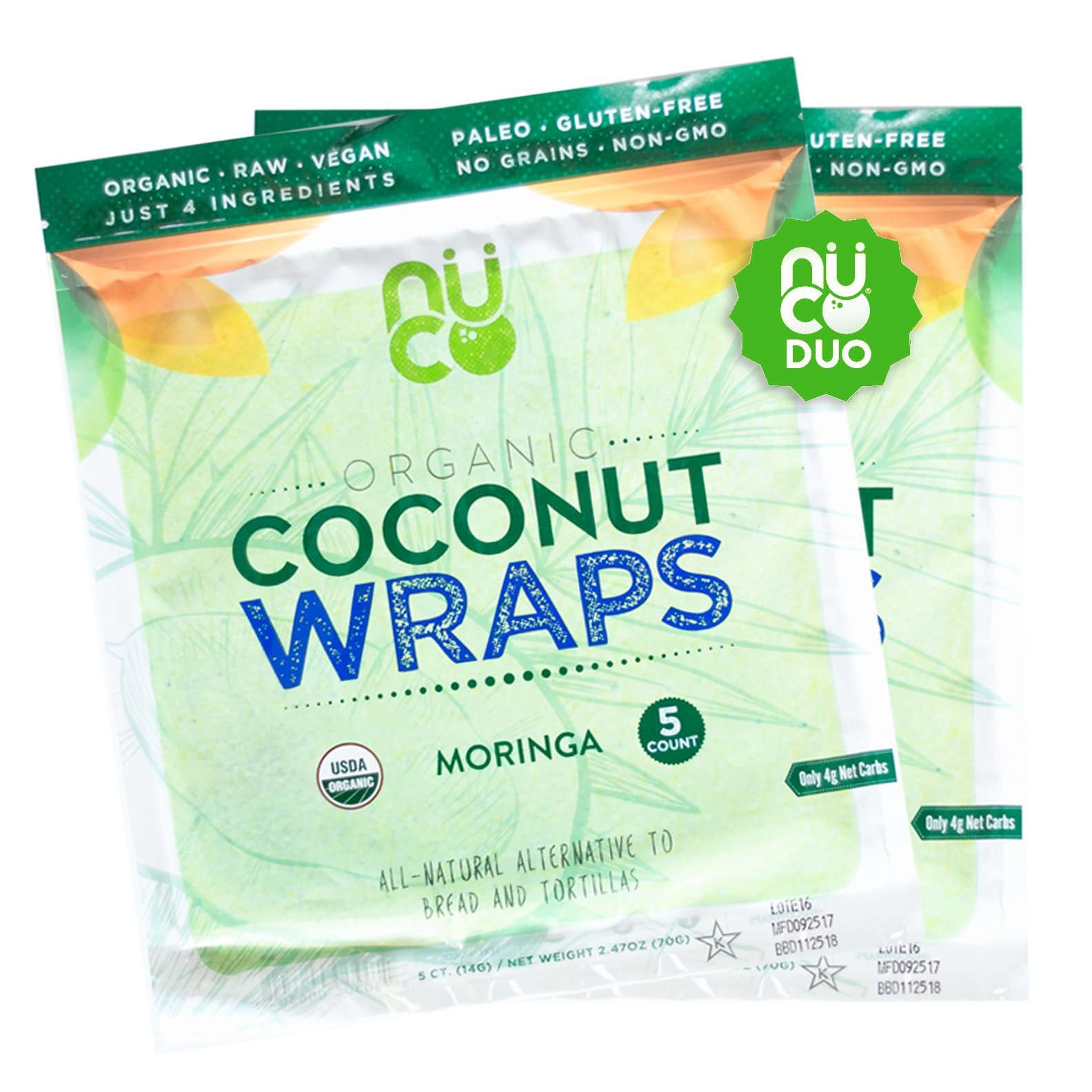 NUCO Certified ORGANIC Paleo Gluten Free Vegan ''Moringa'' Coconut Wraps, 10 Count (Two Packs of Five Wraps Each)
