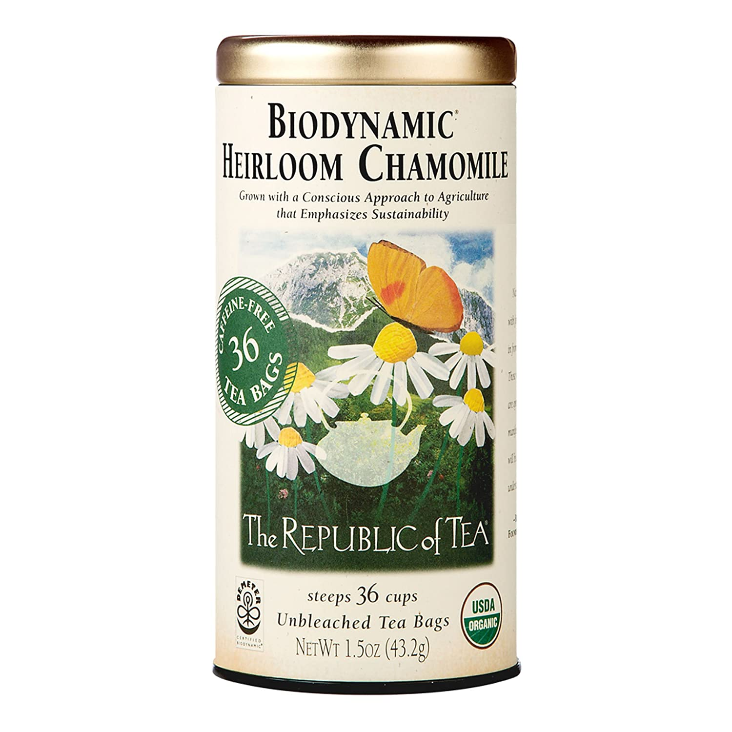 The Republic of Tea Biodynamic Heirloom Chamomile Herbal Tea, 36 Tea Bag Tin