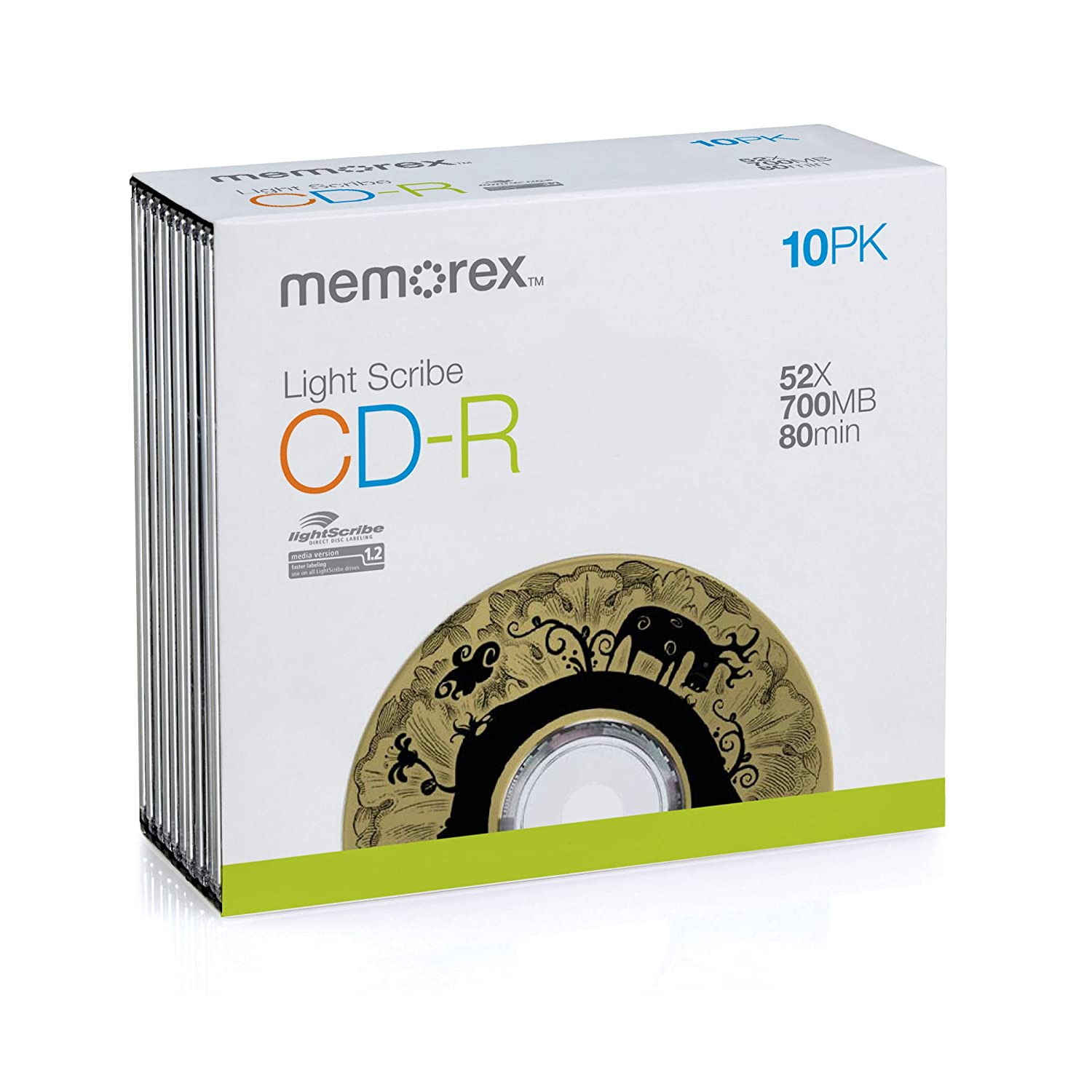 Memorex 10PK CDR 80 SLIM LIGHTSCRIBE (32024731) (Discontinued by Manufacturer) Memtek