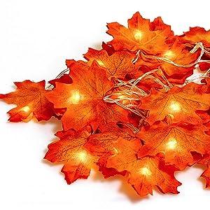 GiBot Thanksgiving Decorations Lights Fall Garlands, 20 LED 7.2 Feet Battery Powered Maple Leaf Lights Harvest Thanksgiving Decor Halloween String Lights for Indoor Outdoor Wedding Garden
