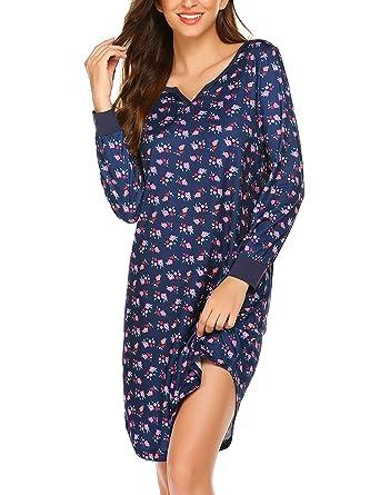 brand new b40d3 3e0a5 MAXMODA Nachthemd Damen Langarm Nachtwäsche Baumwolle Sleepshirt Kurzarm  Sexy Schlafshirt mit Blumen Nachtkleid Weihnachten S-XXL