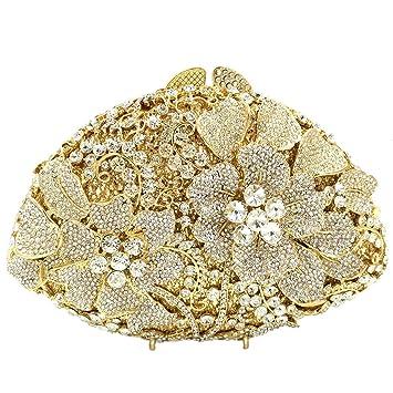 Diamantes Bolso Mujer Noche Bolsas Fiesta Boda Carteras Brillo Cadena Embrague Flores Dorado: Amazon.es: Equipaje