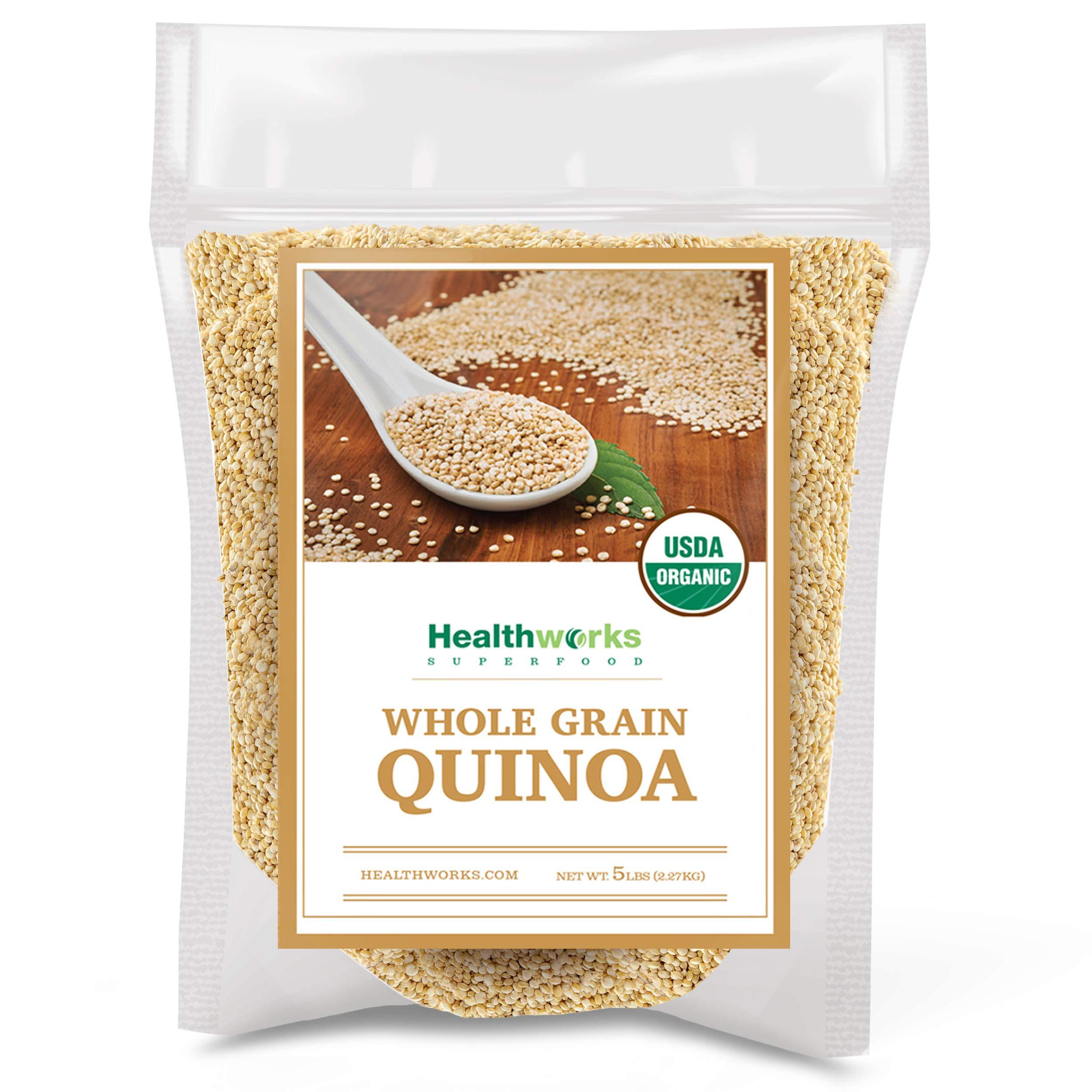 Healthworks Quinoa White Whole Grain Raw Organic (80 Ounces / 5 Pounds) | Protein, Fiber & Iron | Peruvian Origin | Rice & Pasta Substitute by Healthworks