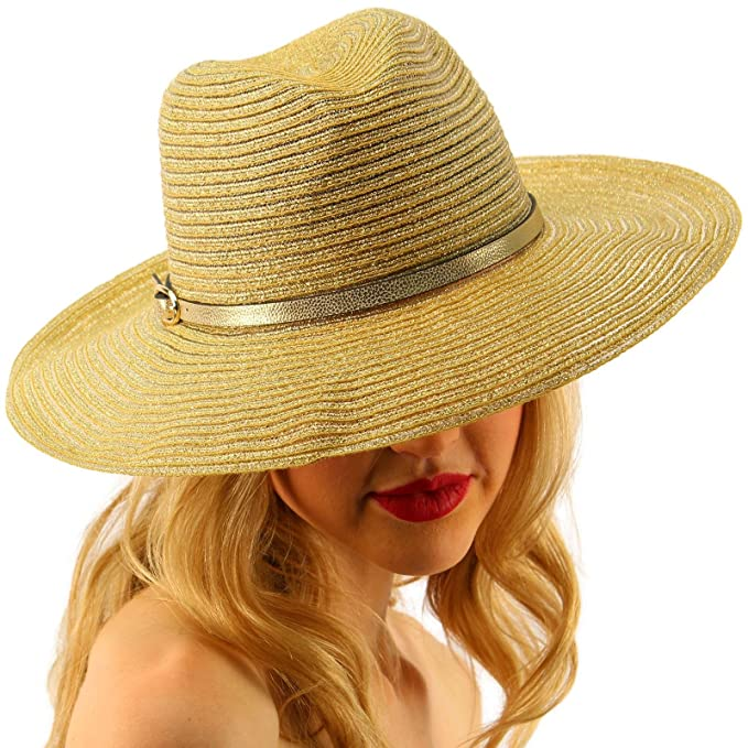 d64a47d09d8a49 Summer Metallic Light Airy Crushable Fedora Panama Derby Beach Pool Sun Hat  Gold at Amazon Women's Clothing store: