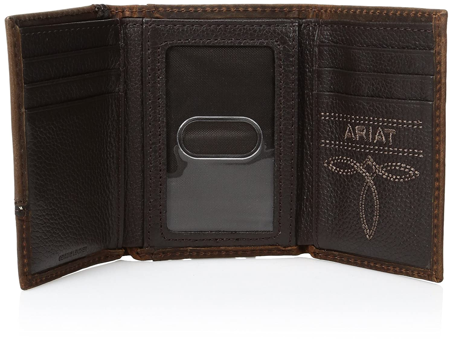 Ariat Mens Blessed Trifold Wallet Medium Distressed Brown Size One Size at Amazon Mens Clothing store: