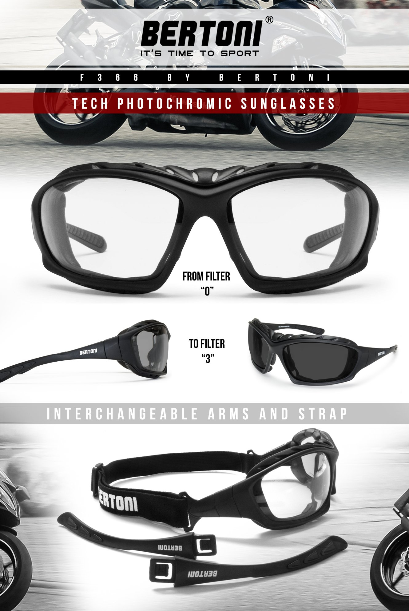 Bertoni Motorcycle Goggles Padded Sunglasses - Photochromic Antifog Lens - Removable Clip for Prescription Lenses - Interchangeable Arms and Strap - by Bertoni Italy F366A Motorbike Bikers Glasses by Bertoni (Image #6)