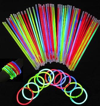 Pack de 100 Varitas Luminosas Varitas Luminosas Fluorescentes Kits de Barritas Fluorescentes, Fluorescente Brillante, Kit de Luz Fluorescente para Fiestas, Cumpleaños, Bodas: Amazon.es: Juguetes y juegos
