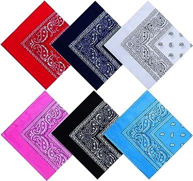 URATOT 6 unidades de bandana de algodón multifunción Paisley diademas de vaquero bandana pañuelos, varios colores, 55 x 55 cm: Amazon.es: Ropa y accesorios