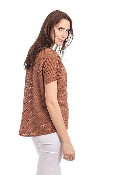 d89f1e3e3487 Abbino 9318J Damen Shirt Top - Made in Italy - Frühjahr Sommer Basic Tshirt  T Damenshirt Damentop Kurzarm Taillenlang Rundhals Strick Strickshirts Sale  ...
