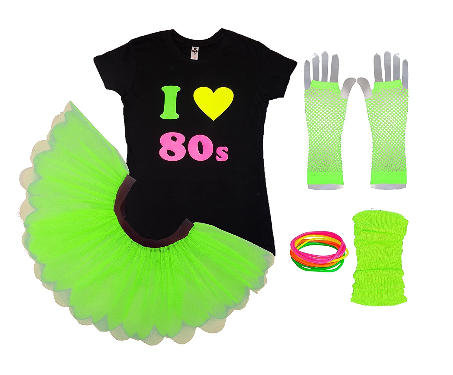 Honey B's I Love The 80s Ladies Tutu Top Party Set Legwarmers Gloves Fancy Dress Neon Colours (Large, Pink)