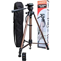 SLOVIC Tripod Aluminum| Universal Lightweight Tripod for DSLR,Mobile with Mobile Phone Mount/Holder.(Golden-Metallic Color). (60 INCH) (Weight Capacity Upto 3 Kg)