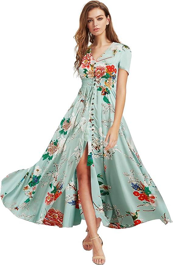 Long Floral Dresses for Women Button - Up Split Flowy Maxi Dresses for Womens