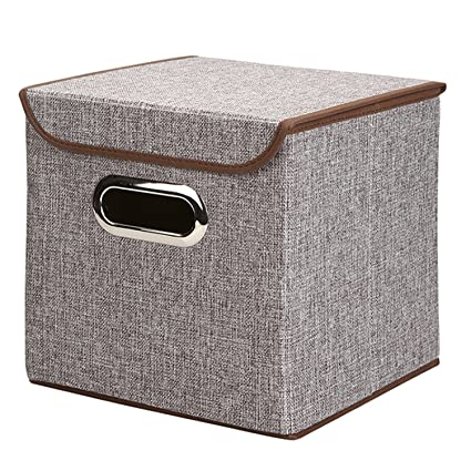 Beau 10u0026quot;x10u0026quot;x10u0026quot; Collapsible Storage Cube Foldable Box Drawers  Basket Bins With Lid