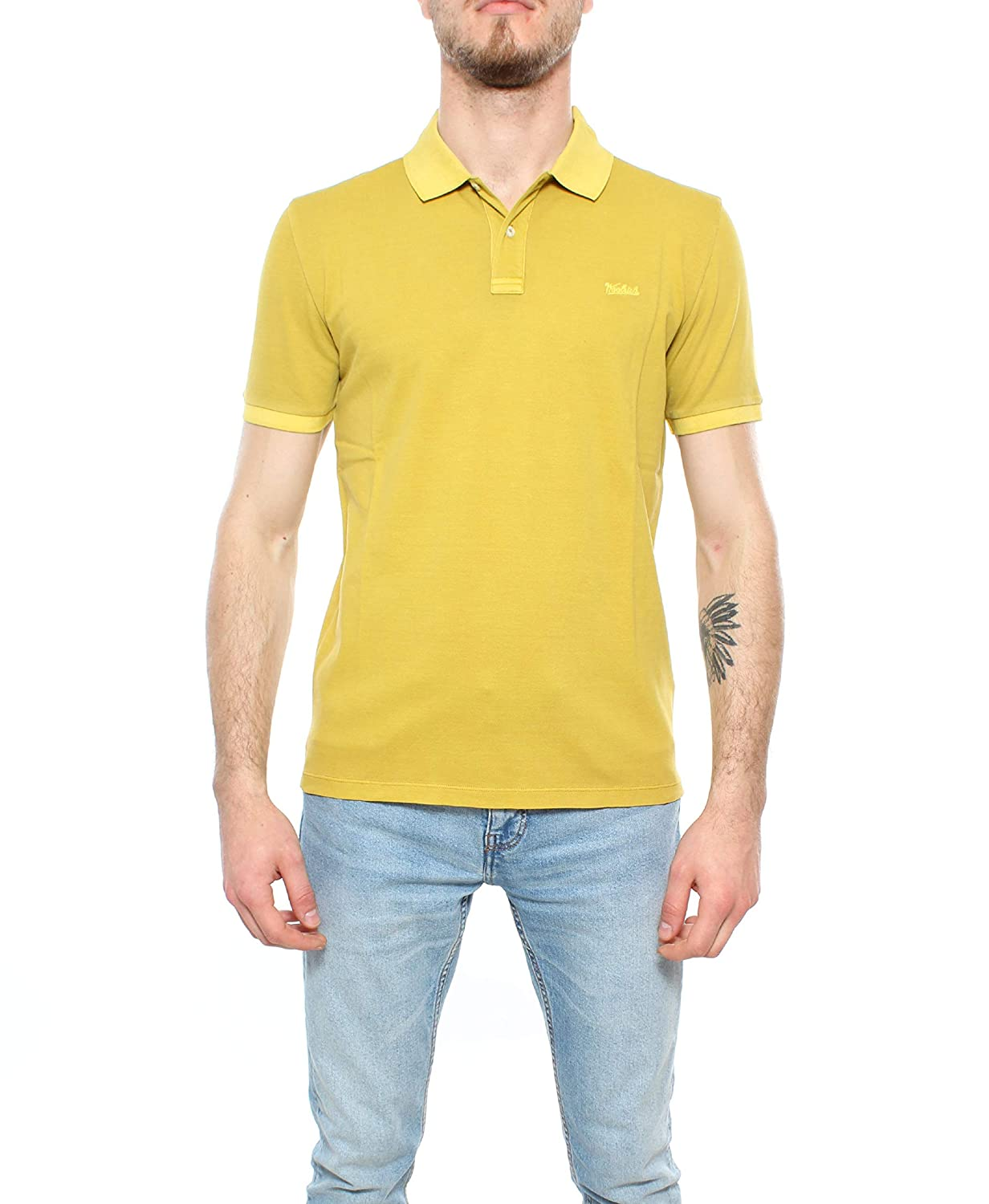 WOOLRICH 9610AA Polo uomo Vintage Lime Washed Cotton Polo t-Shirt ...