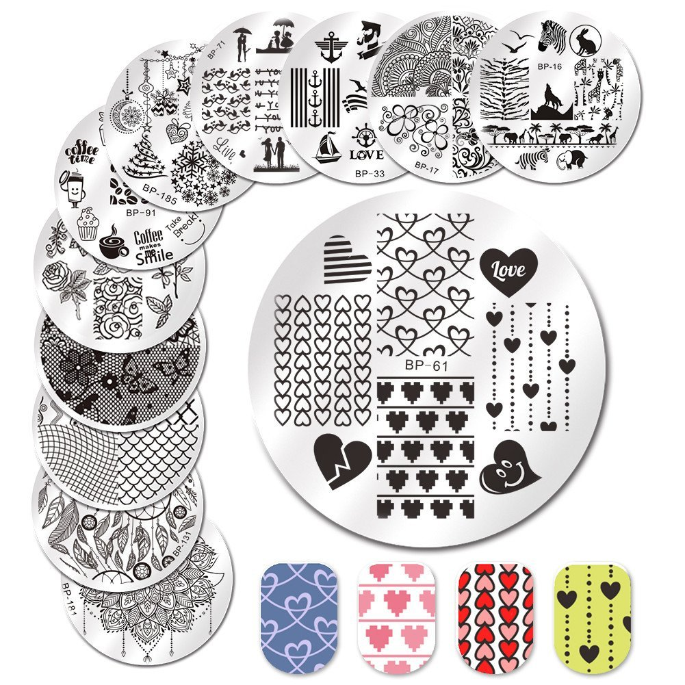 BORN PRETTY Nail Art Stamp Templates Stamping Image 12Pcs Round Flower Love Theme Animal Christmas Stamp Plates prettytown