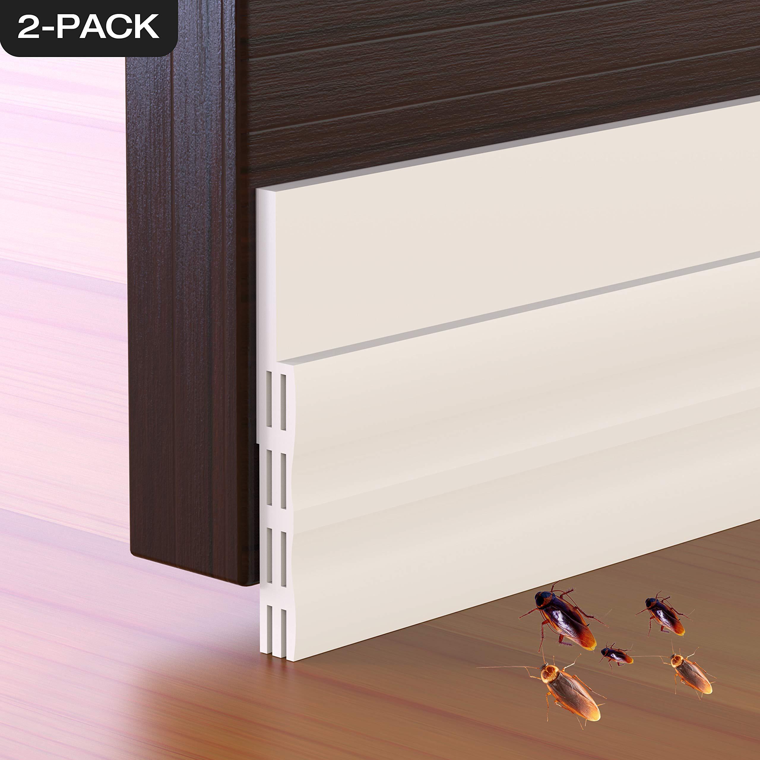 Door Draft Stopper, 2 Pack Strong Adhesive Under Door Insulator Door Sweep Weather Stripping Noise Stopper Prevent Bugs, 2'' W x 39'' L