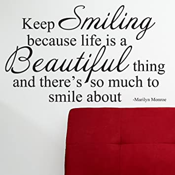 Amazoncom Marilyn Monroe Quote Wall Sticker Decal Keep Smiling