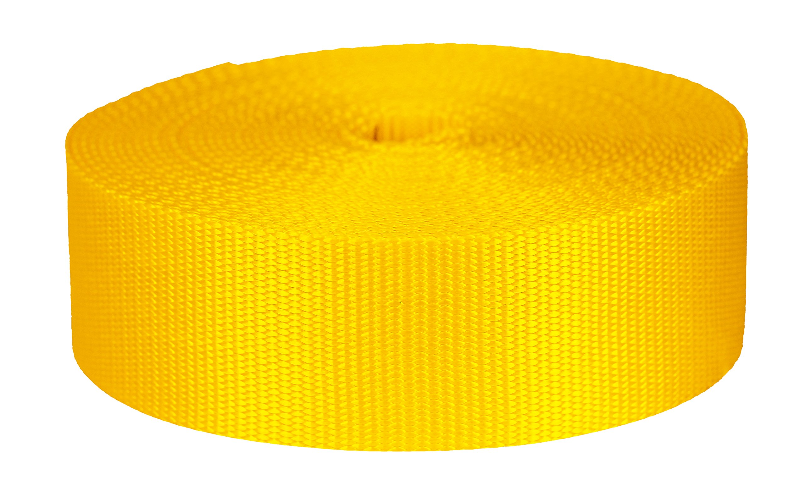 Strapworks Colored Flat Nylon Webbing - Strap For Arts And Crafts, Dog Leashes, Outdoor Activities - 2 Inches x 50 Yards,  Yellow by Strapworks