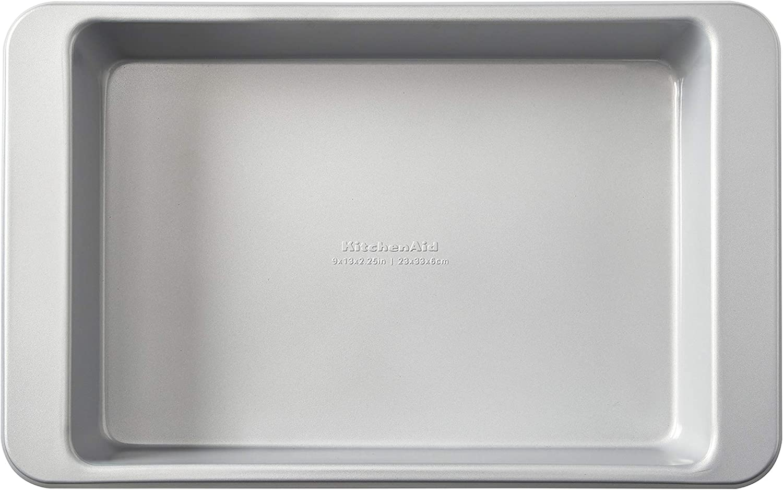 KitchenAid Nonstick Aluminized Steel Rectangular Cake Pan, 9x13-Inch, Silver