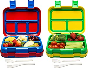 Bizz Large Travel Bento Box Set Lunch Boxes with Utensils, Removable Microwaveable, Dishwasher Safe Tray (2-Pack) Lunchbox Portable Portion Control Meal Prep Containers Reusable BPA Free Adults Kids