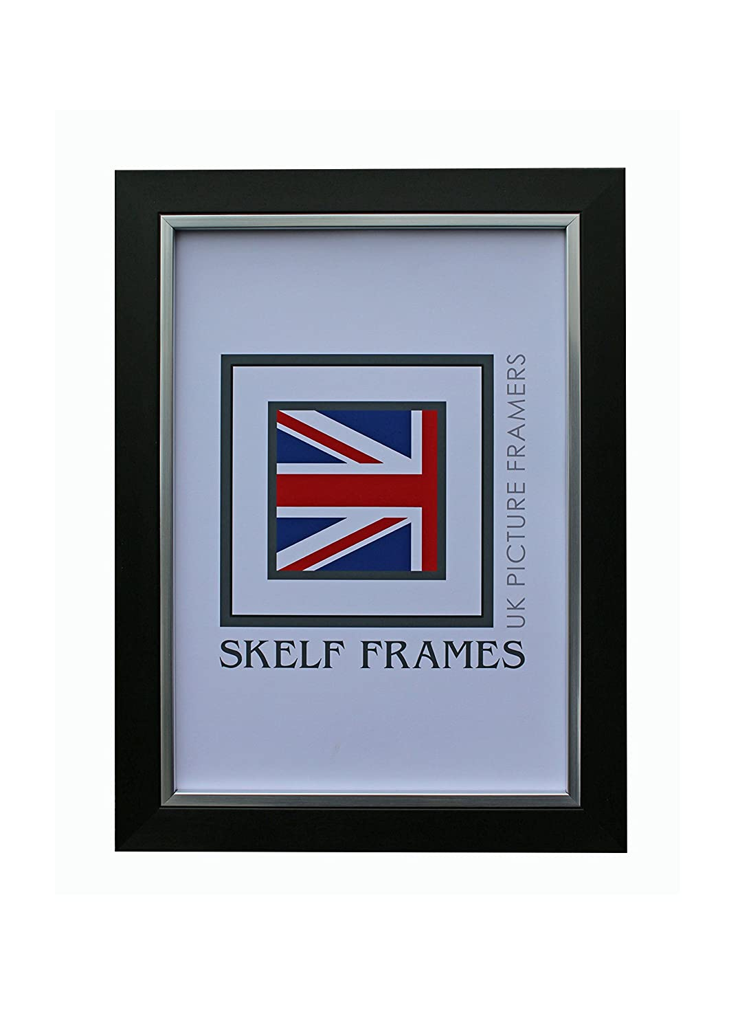 BRUSH BLACK AND SILVER PICTURE POSTER PHOTO FRAME WITH GLASS (5x3.5) Skelf Frames Ltd
