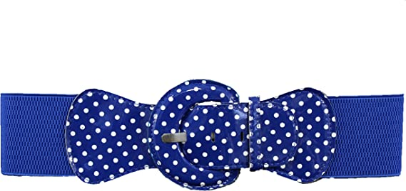 Women Belt Elastic White Polka Dots Fashion Hip High Waist Round Buckle M L XL