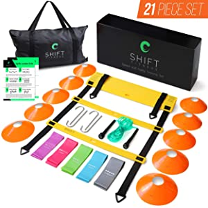 Speed and Agility Ladder and Cone Training Set– Increase Fitness and Quickness with 20 ft/12 Rung Ladder, 10 Cones, 5 Latex-Free Loop Resistance Bands, Carry Bag, Workout Jump Rope and Footwork Drills