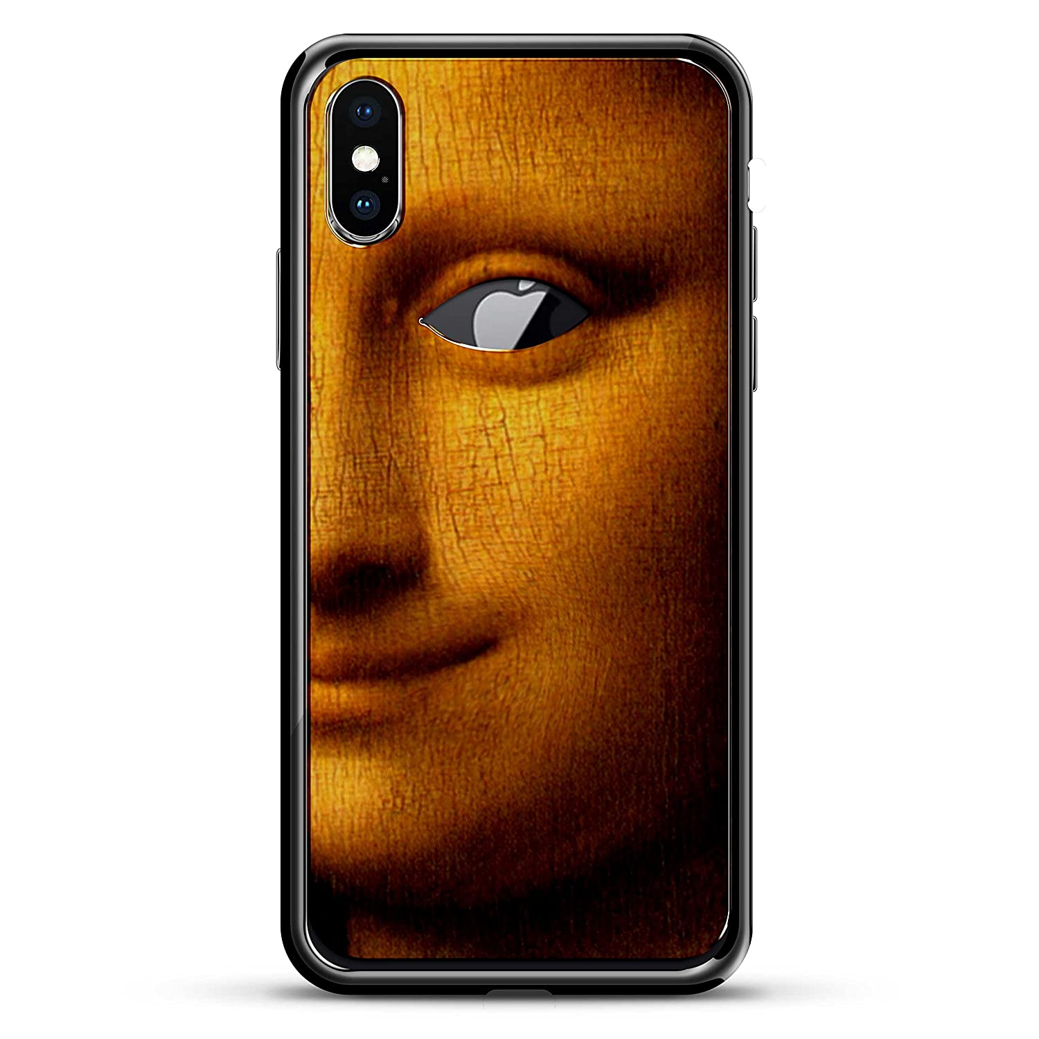 MONA LISA W/ EYE PAINTING | Luxendary Chrome Series designer case for iPhone X in Titanium Black trim