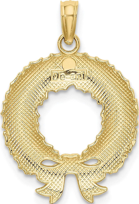 Width=16.55 Length=23.5 10K Yellow Gold Enamel Christmas Wreath Charm