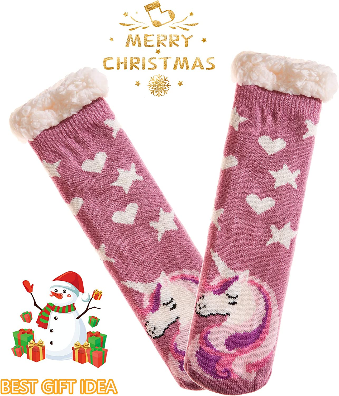 Women Winter Fuzzy Slipper Socks Thick Warm Cozy Fleece Lined Non-Slip Cute Animals Thermal Indoor Floor Home Sleep Socks