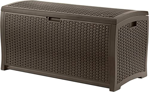 Suncast 73-Gallon Medium Deck Box – Lightweight Resin Indoor Outdoor Storage Container and Seat for Patio Cushions and Gardening Tools – Store Items on Patio, Garage, Yard – Mocha Brown