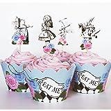 24 件复古爱丽丝纸杯蛋糕装饰拨片和包装 - 红狐狸尾部