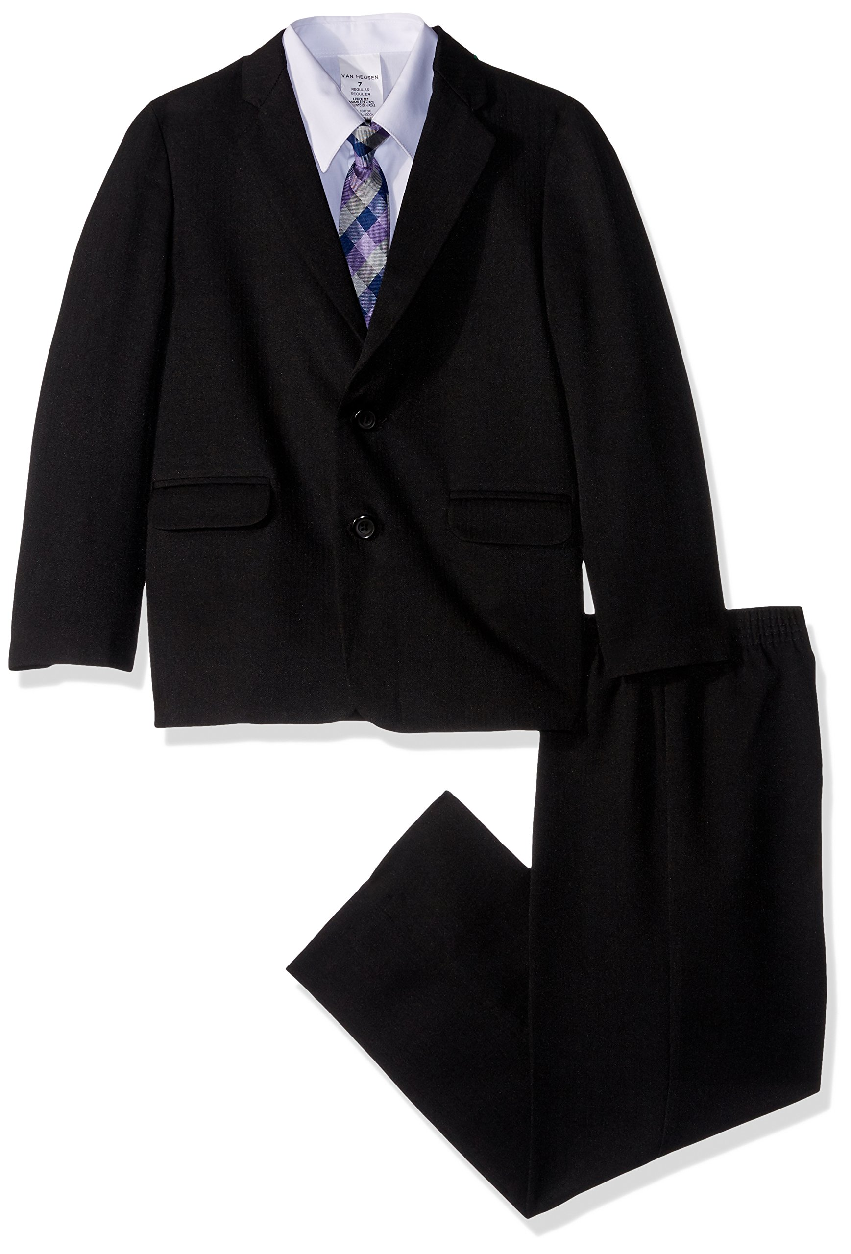 Van Heusen Little Boys' Four Piece Suit Set, Black Herringbone, 5