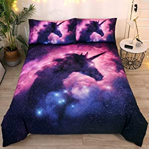 DEERHOME Galaxy Unicorn Kids Bedding Duvet Cover Sets Psychedelic Space Pink Purple Unicorn Duvet Cover Gifts for Teens Girls and Boys,Twin Size