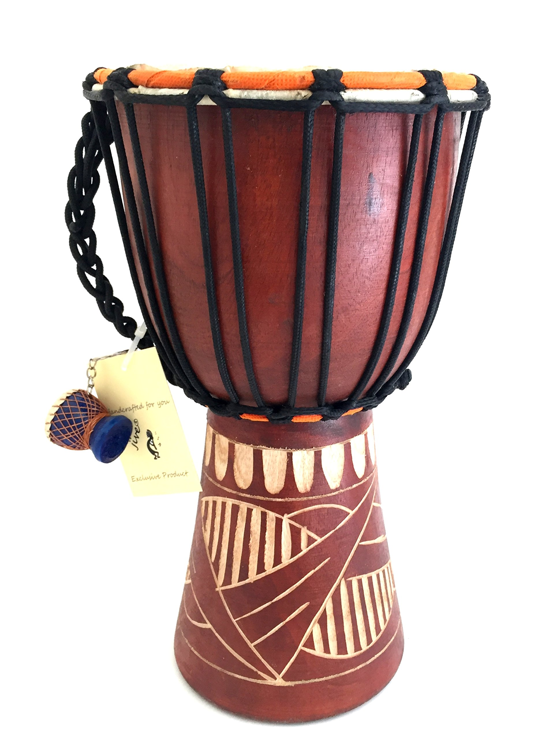 Djembe Drum Bongo Congo African Solid Wood Drum - MED SIZE- 12'', JIVE FEDERAL (TM) BRAND, Professional Premium Quality / Includes Drum Key Chain