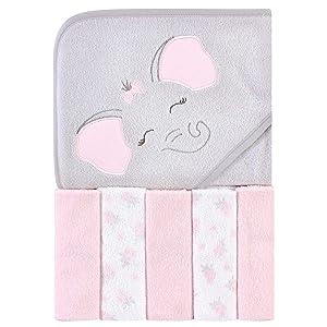 Hudson Baby Unisex Baby Hooded Towel & Five Washcloths, Pink Elephant, One Size