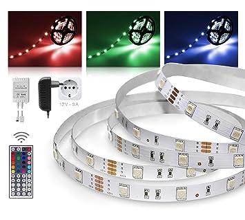 LED Streifen 5m RGB Set Mit Steckernetzteil Und Infrarot Fernbedienung (RGB  LED Strip 5