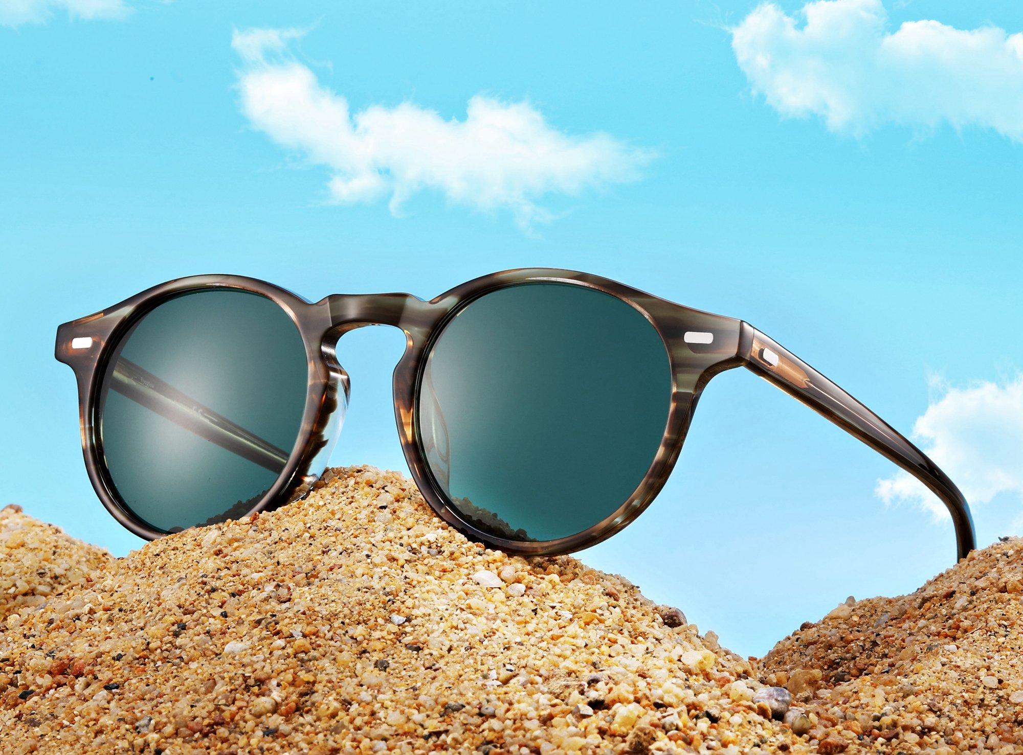 EyeGlow Vintage Round Sunglasses Women Sunglasses Men Polarized Lens 5187 Acetate material (Blonde vs green polarized lens, As pictures) by EyeGlow (Image #7)