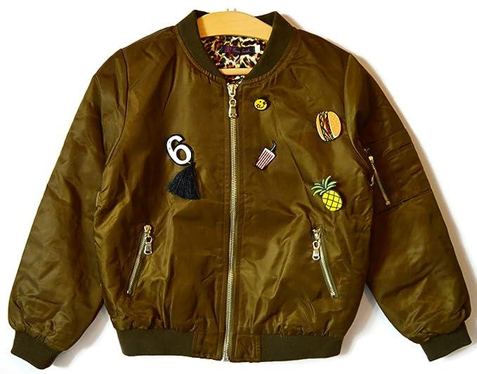 miglior servizio 32afa 85955 Giacca Bomber da ragazza verde militare con spille Verde ...