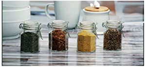Circleware 67192 Mini Round Glass Spice Jar with Swing Top Hermetic Airtight Locking Lid, Set of 4 Kitchen Glassware Food Preserving Storage Containers for Coffee, Sugar, Tea, 4 oz, Optic