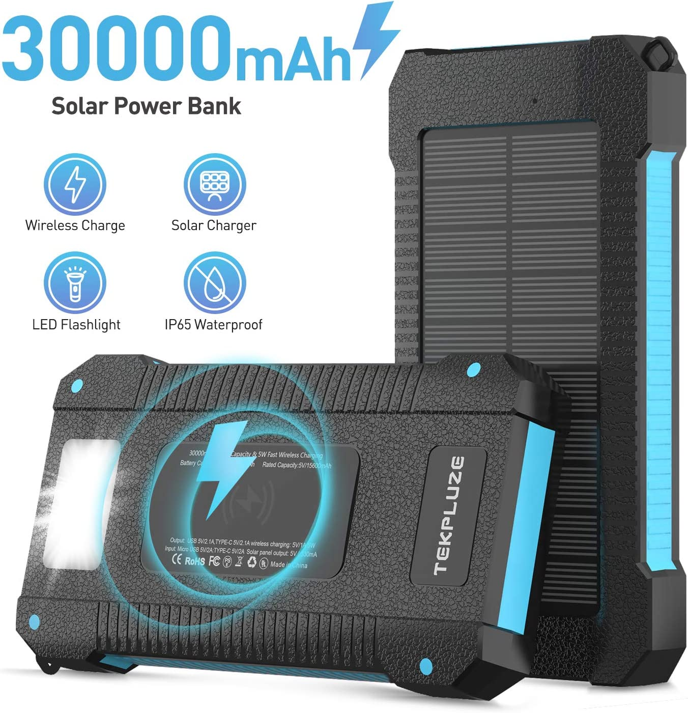 Solar Power Bank 30000 mAh,Wireless Portable Charger Solar Panel External Battery Type-C 5V Dual USB with LED Flashlight Black Waterproof,Dustproof,Shockproof Compatible iOS /& Android Camping.