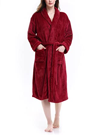 David Archy Women\'s Fleece Robe Plush Spa Bathrobe Dressing Gown at ...