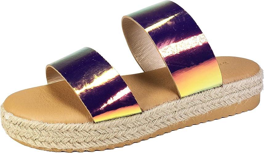 New Women/'s Transparent Dual Band Open Toe Espadrille Sandal Flat Low Platform